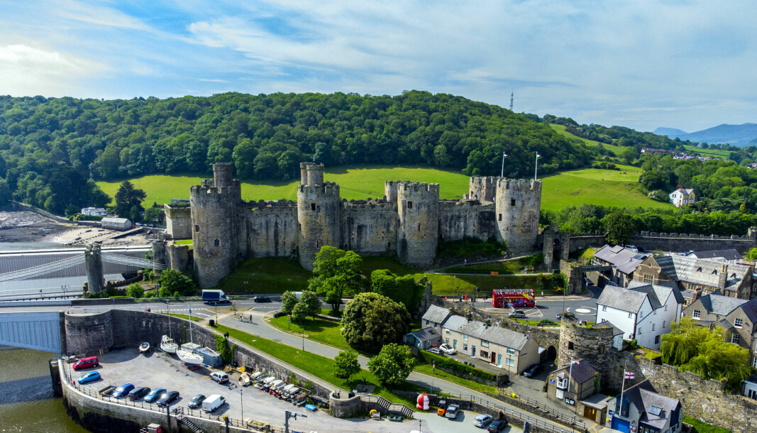 Aerial view of Conwy Castle, in Conwy, North Wales. Picture date: Wednesday June 2, 2021. PA Photo. Photo credit should read: Peter Byrne/PA Wire
