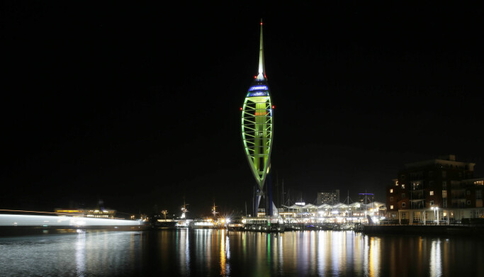 The Emirates Spinnaker Tower in Portsmouth is illuminated by Tourism Ireland to mark St Patrick's Day.