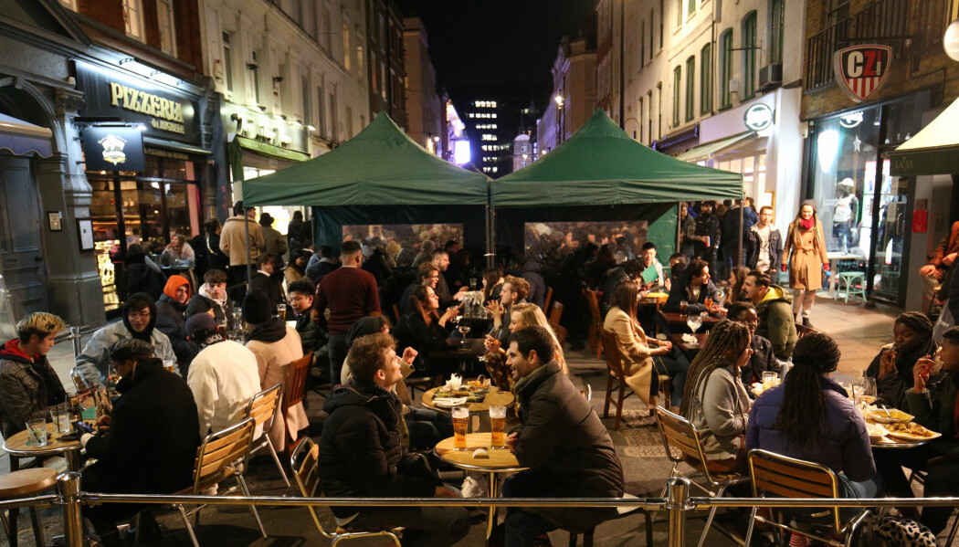 Diners outside in London.