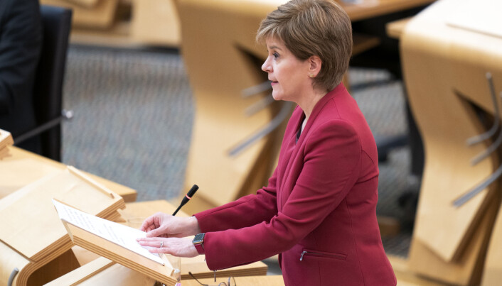 First Minister Nicola Sturgeon in the Scottish Parliament in Edinburgh to update MSPs on any changes to the Covid-19 restrictions in Scotland.