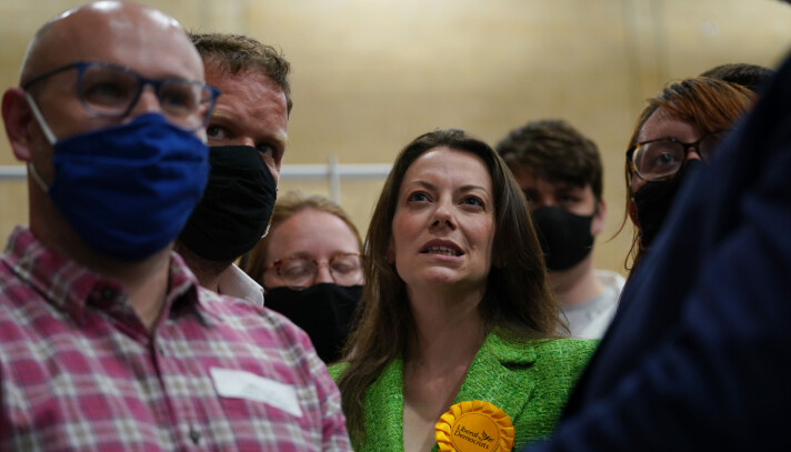 Sarah Green of the Liberal Democrats after being declared winner in the Chesham and Amersham by-election at Chesham Leisure Centre in Chesham, Buckinghamshire, where she defeated Conservative candidate Peter Fleet, who came second. Picture date: Friday June 18, 2021.