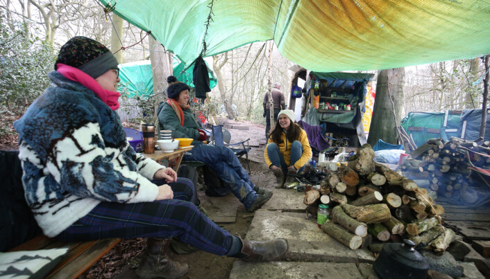 Environmental activists camped in protest in Jones' Hill Wood, near Aylesbury Vale in Buckinghamshire, one of the woodlands which is due to be affected by the building of HS2. Picture date: Friday March 12, 2021. PA Photo. Nearly half of the wood, said to have inspired Roald Dahl to write Fantastic Mr Fox, will be dug up for the construction of HS2. Photo credit should read: Jonathan Brady/PA Wire