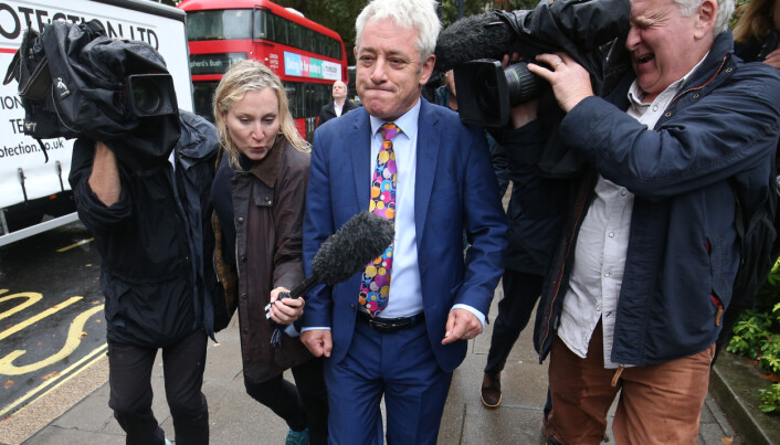 Former Speaker of the House of Commons John Bercow on College Green in Westminster.