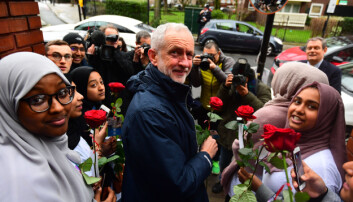 Former leader Jeremy Corbyn at the Finsbury Park Mosque.