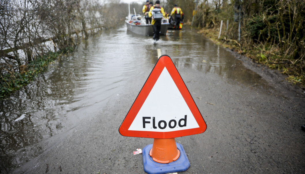 Stock image showing a flood warning sign in England.