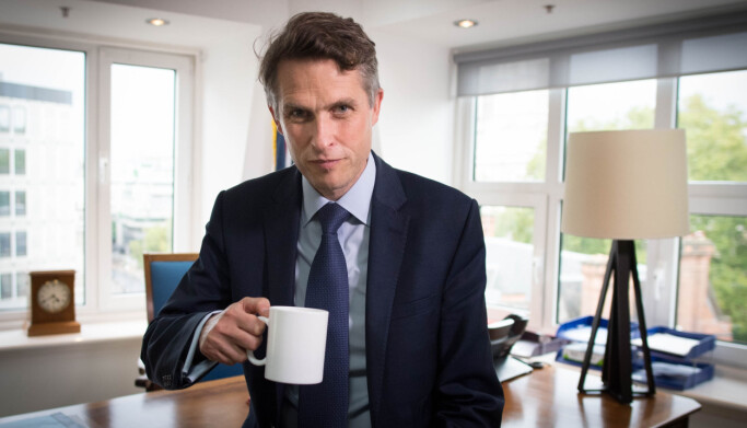 Secretary of State for Education Gavin Williamson in his office at the Department of Education in Westminster