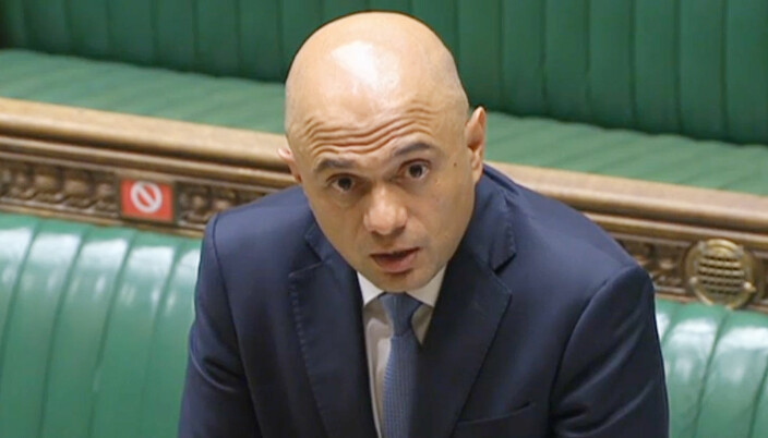 Health Secretary Sajid Javid speaking to MPs in the House of Commons