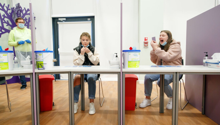 Students Ellie Fisher (left) and Beth Hicks (right) take Coronavirus lateral flow tests at Outwood Academy Adwick in Doncaster, ahead of schools and colleges fully reopening on Monday. Picture date: Friday March 5, 2021.