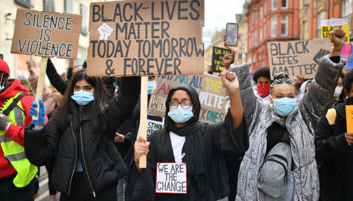 People during Black Lives Matter rally in Birmingham.