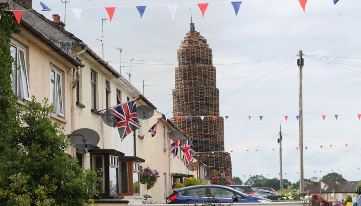 A giant bonfire in the loyalist Corcrain area of Portadown in Northern Ireland.