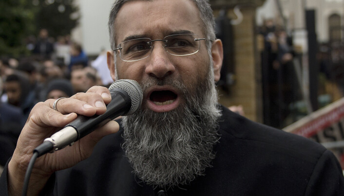 Radical cleric Anjem Choudary speaking outside London Central Mosque and Islamic Cultural Centre in London.