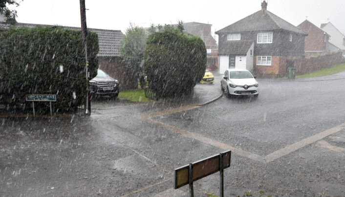 Heavy rain in Billericay, Essex during a brief but heavy storm.