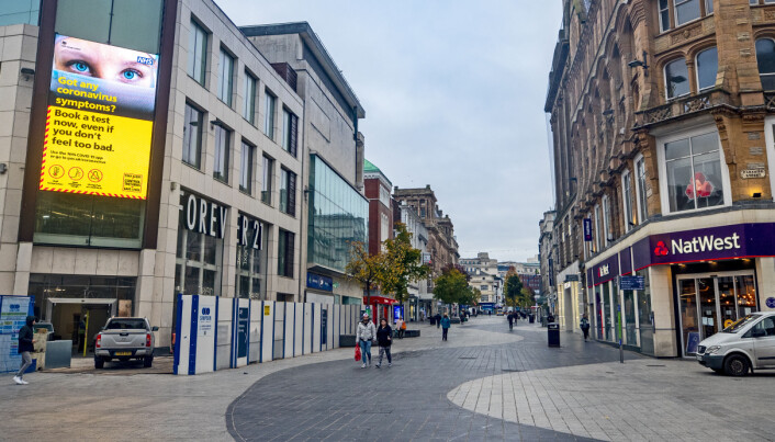 People in Liverpool city centre as England continues a four week national lockdown to curb the spread of coronavirus.