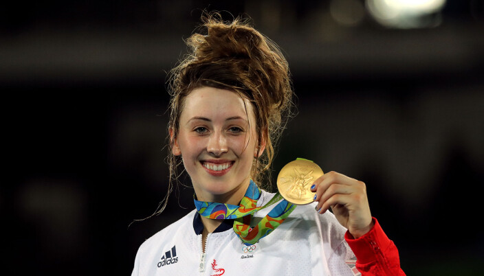 Great Britain's Jade Jones celebrates with her gold medal following victory over Eva Calvo Gomez in the women's 57kg final at the Carioca Arena 3 on the thirteenth day of the Rio Olympics Games, Brazil. Issue date: Friday July 9, 2021.