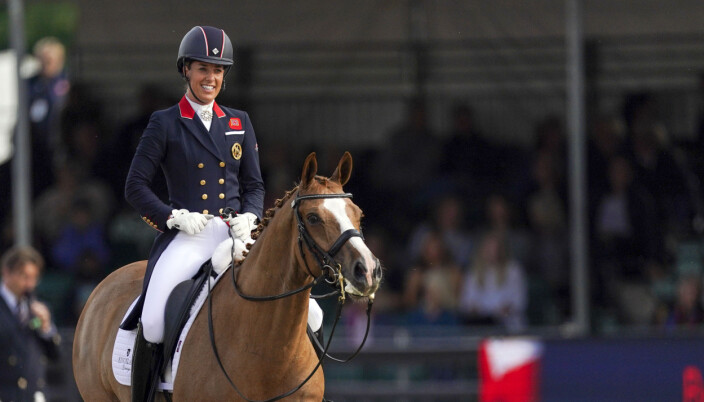 Charlotte Dujardin riding Gio in a warm up event for Great Britain's Olympic team at the Royal Windsor Horse Show, Windsor. Picture date: Wednesday June 30, 2021.
