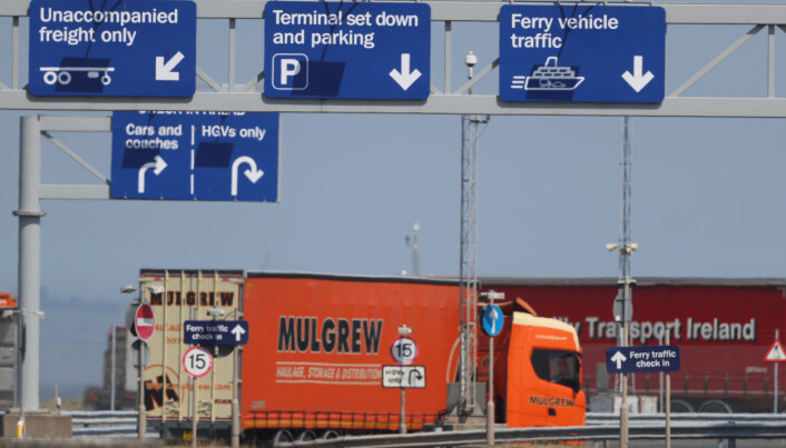 A lorry at Belfast Harbour.
