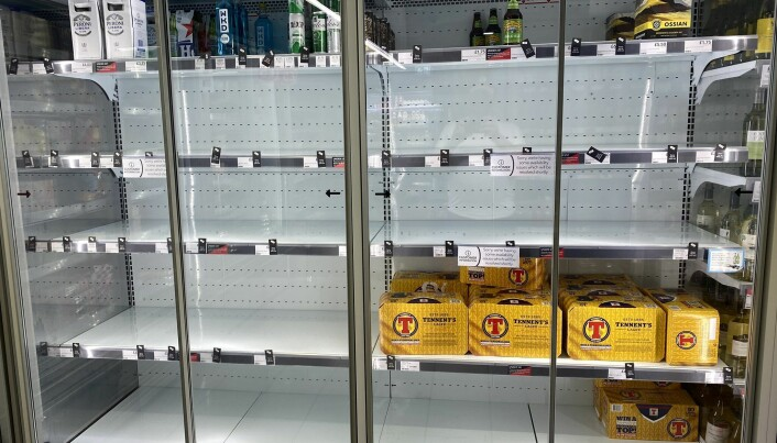 Photo taken with permission from the Twitter feed of @HapG86 of empty shelves in a Co-op. The shop replied to the Twitter user putting the low stock down to how many staff were self-isolating.