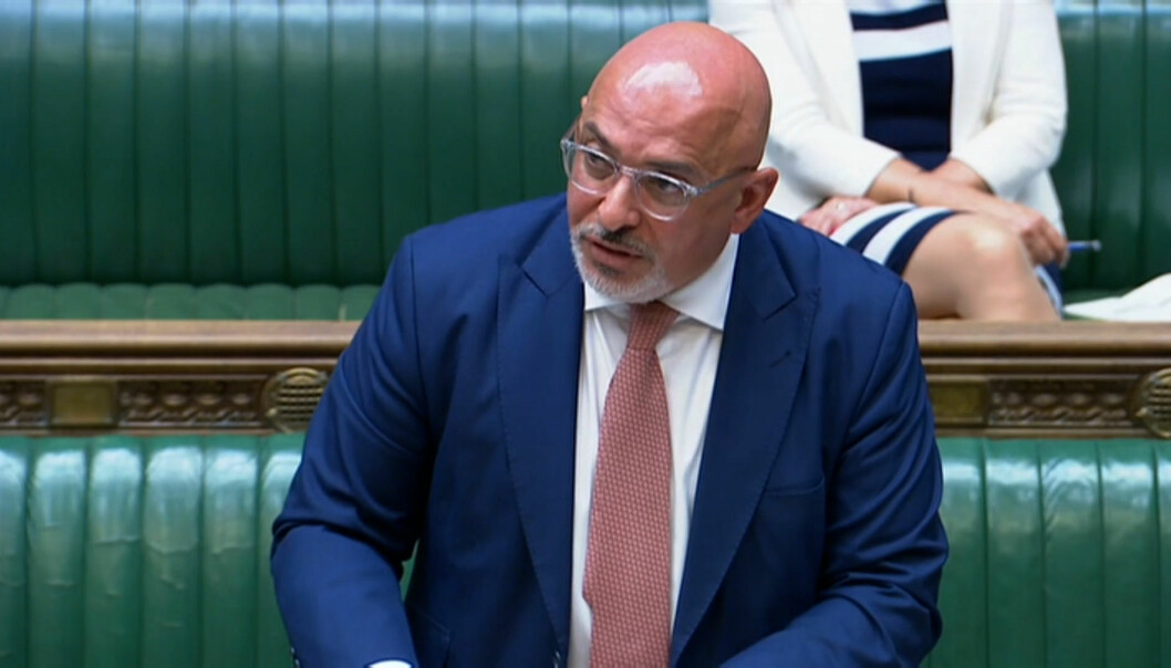 Vaccines minister Nadhim Zahawi addressing the House of Commons