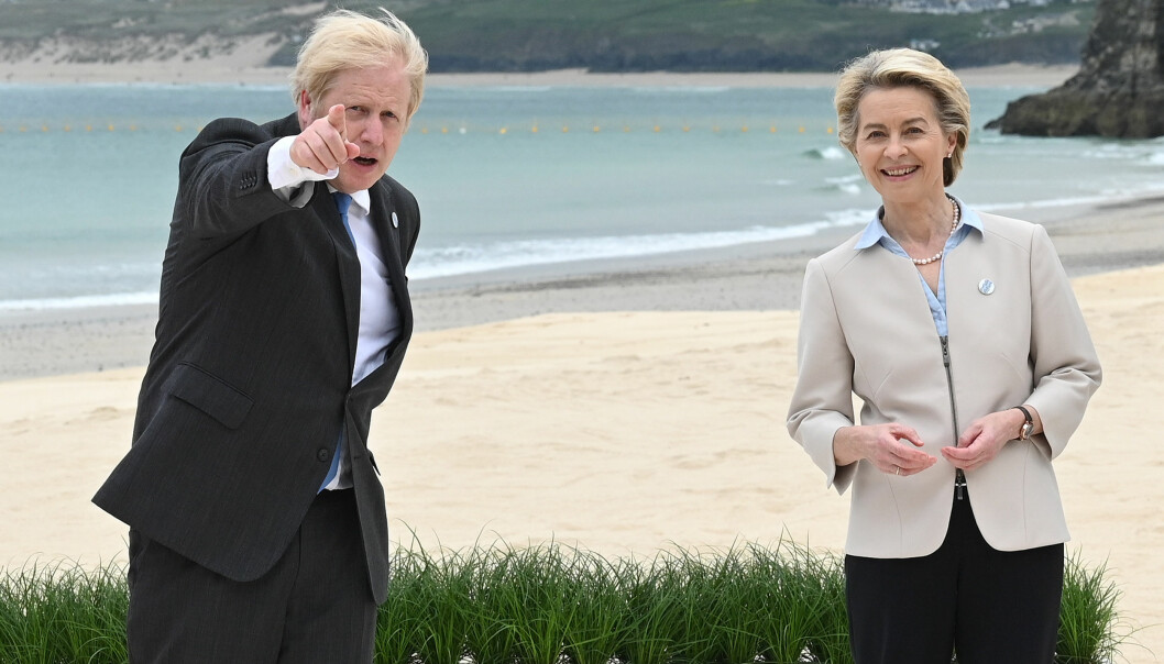 Prime Minister Boris Johnson with President of the European Commission Ursula von der Leyen during the Leaders official welcome and family photo, during the G7 summit in Cornwall. Picture date: Friday June 11, 2021.