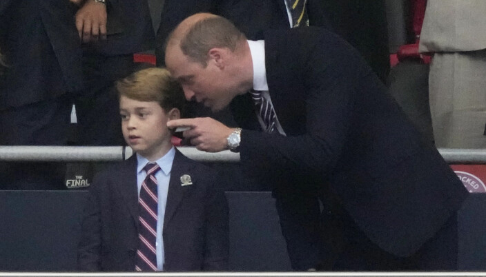 Prince William and Prince George in the stands before England's Euro 2020 final against Italy at Wembley.