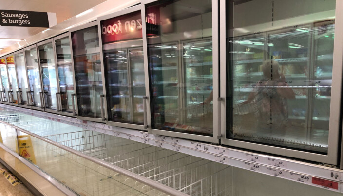 The empty sausage and burger section of the freezer aisle at the Sainsbury supermarket at the Arnison Centre, Durham. Supermarkets have urged customers not to panic buy in response to reports of emptying shelves, saying they are continuing to receive regular deliveries.