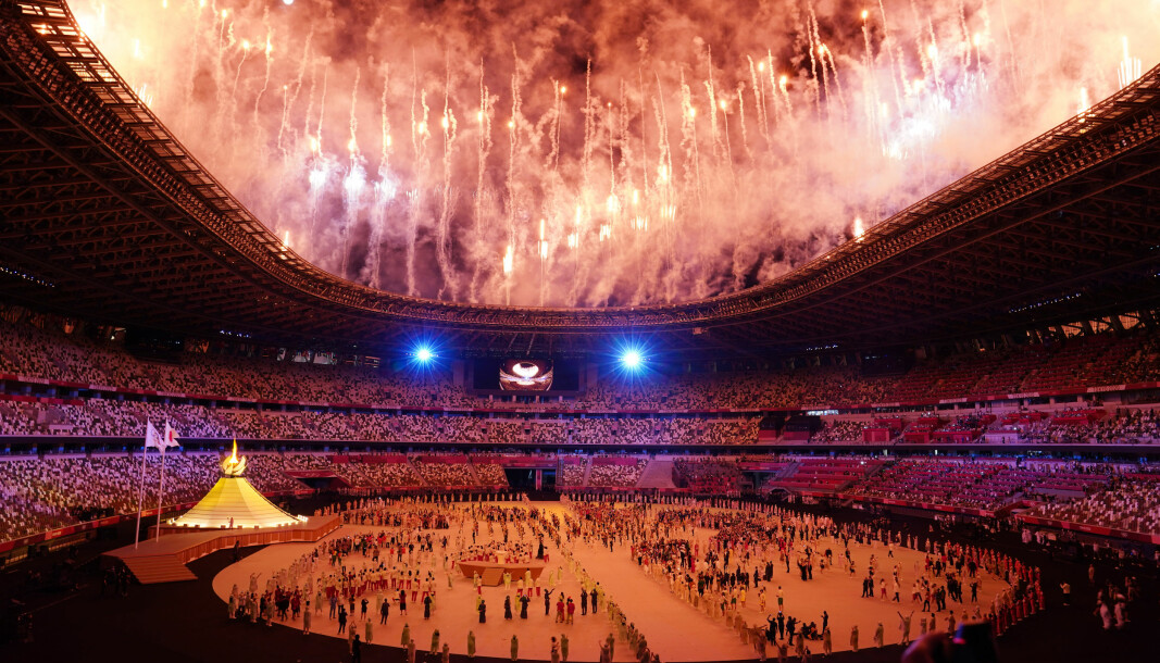 Fireworks during the opening ceremony of the Tokyo 2020 Olympic Games at the Olympic Stadium in Japan.