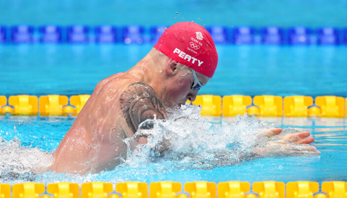 Great Britain's Adam Peaty in action during the Men's 100m Breaststroke final at the Tokyo Aquatics Centre on the third day of the Tokyo 2020 Olympic Games in Japan.