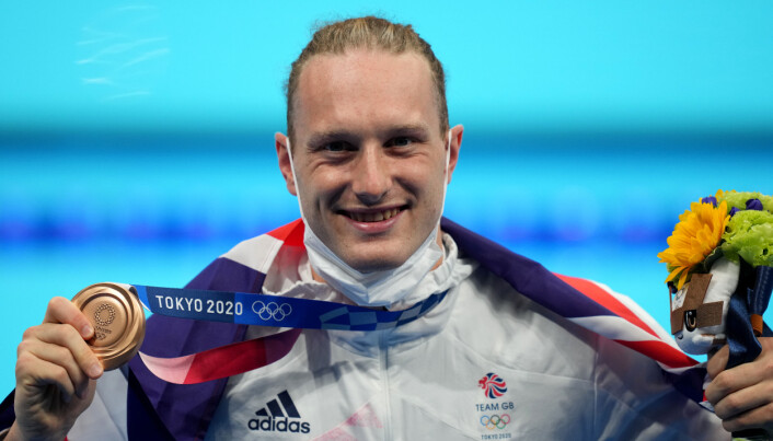 Great Britain's Luke Greenbank, bronze, on the podium for the Men's 200m Backstroke at Tokyo Aquatics Centre on the seventh day of the Tokyo 2020 Olympic Games in Japan. Picture date: Friday July 30, 2021.