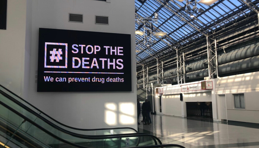 A sign at the Scottish Drugs Conference being held at the Scottish Events Campus (SEC) in Glasgow.