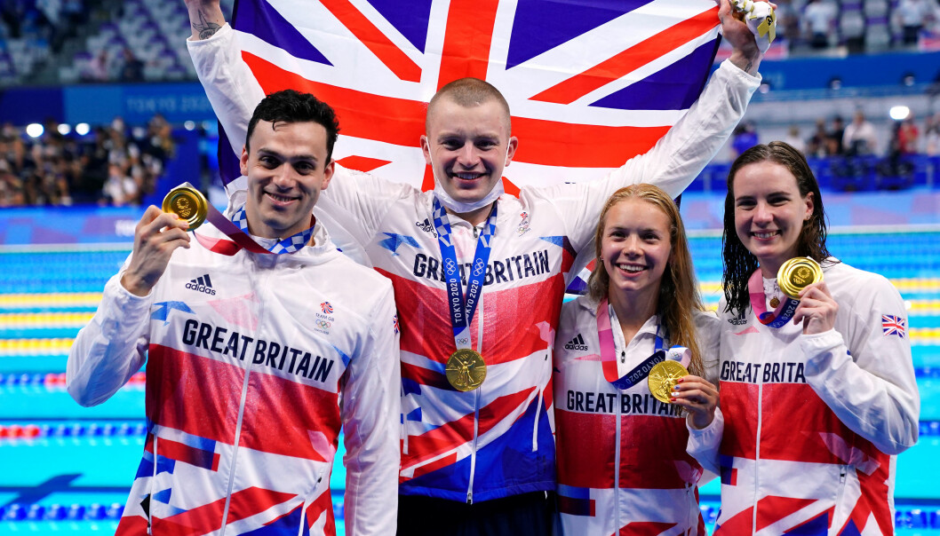 Great Britain's Adam Peaty, James Guy, Anna Hopkin and Kathleen Dawson receive their Gold medals for the Mixed 4 x 100m medley relay during the swimming at the Tokyo Aquatics Centre on the eighth day of the Tokyo 2020 Olympic Games in Japan. Picture date: Saturday July 31, 2021.