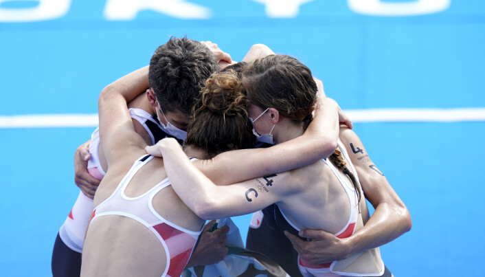 Great Britain's Jonathan Brownlee, Alex Yee, Jessica Learmonth and Georgia Taylor Brown celebrate gold in the Triathlon Mixed Relay at Odaiba Marine Park on the eighth day of the Tokyo 2020 Olympic Games in Japan. Picture date: Saturday July 31, 2021.