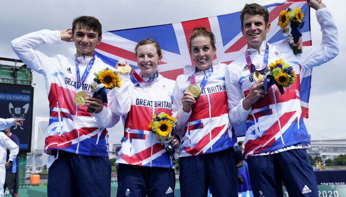 Great Britain's Alex Yee, Georgia Taylor-Brown Jessica Learmonth and Jonathan Brownlee on the podium with the gold medal for the Triathlon Mixed Relay at Odaiba Marine Park on the eighth day of the Tokyo 2020 Olympic Games in Japan. Picture date: Saturday July 31, 2021.