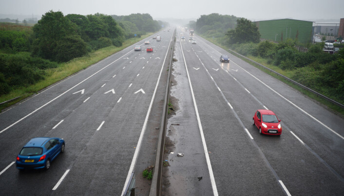 A quieter than usual M4 motorway in wet conditions.