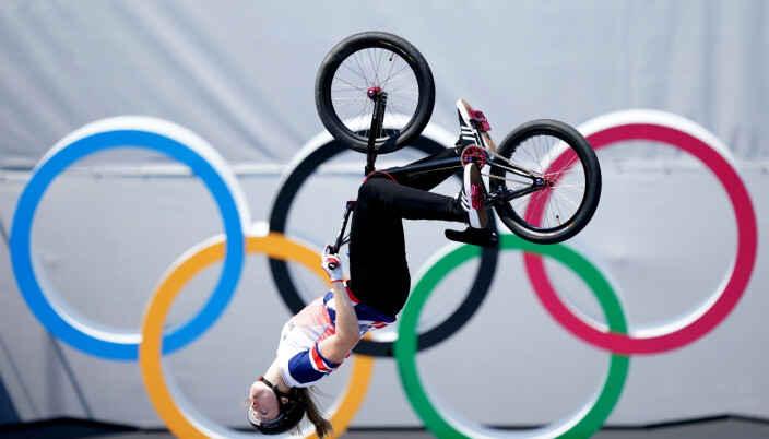 Great Britain's Charlotte Worthington on her way to winning a gold medal in the women's BMX freestyle at the Ariake Urban Sports Park on the ninth day of the Tokyo 2020 Olympic Games in Japan.