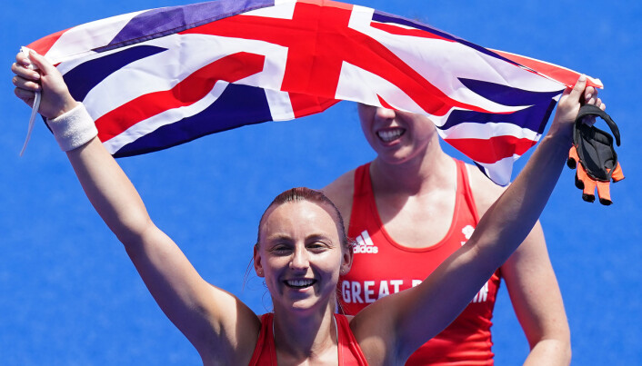 Great Britain's Hannah Martin celebrates winning bronze in the Women's Bronze Medal Match at the Oi Hockey Stadium on the fourteenth day of the Tokyo 2020 Olympic Games in Japan.
