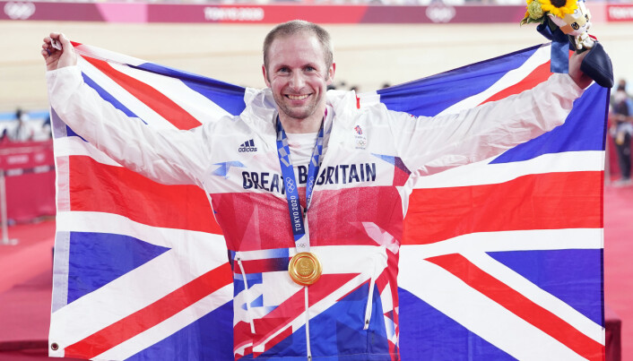 Great Britain's Jason Kenny celebrates with the gold medal in the Men's Keirin Finals to become the first Team GB athlete to win seven Olympic Gold Medals.