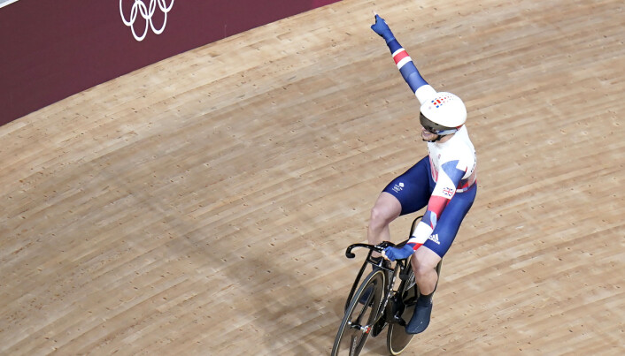 Great Britain's Jason Kenny celebrates after winning gold in the Men's Keirin Finals 1-6 at the Izu Velodrome.
