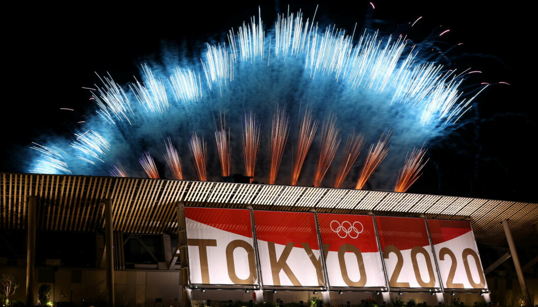 Fireworks above the Tokyo Olympic stadium during the closing ceremony.