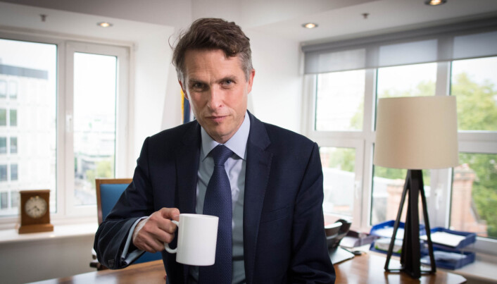 Secretary of State for Education Gavin Williamson in his office at the Department of Education in Westminster, London.