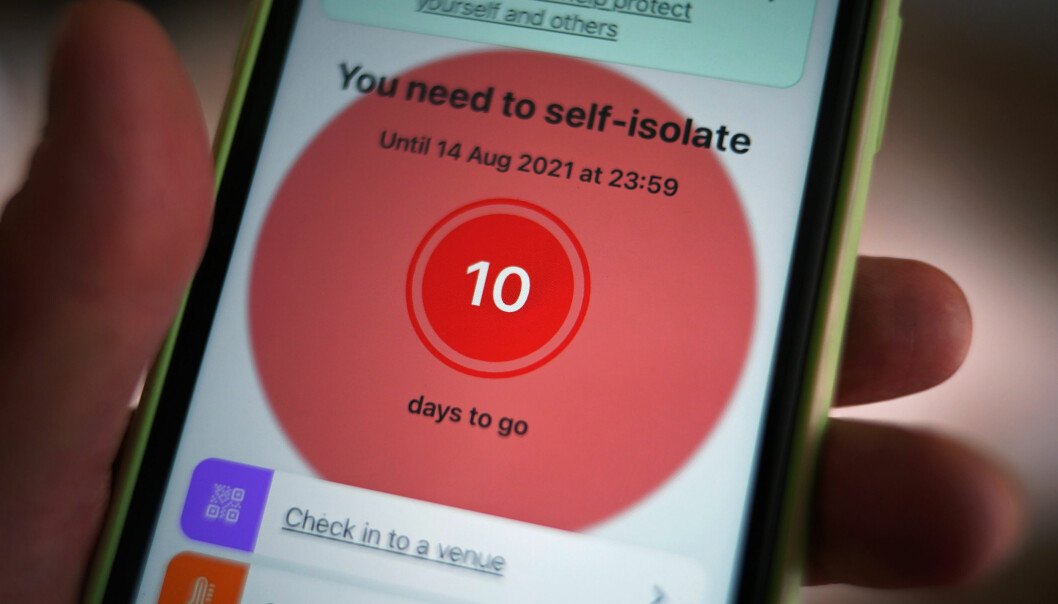 A message to self-isolate, with ten days of required self-isolation remaining, is displayed on the NHS coronavirus contact tracing app
