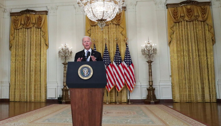 U.S. President Joe Biden delivers remarks on the crisis in Afghanistan during a speech in the East Room at the White House in Washington, U.S.