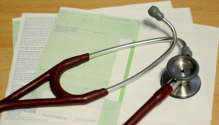 A prescription and stethoscope at the Temple Fortune Health Centre GP Practice near Golders Green, London.