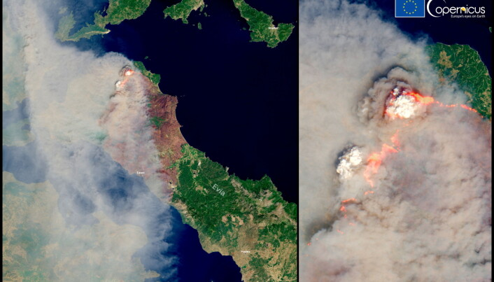 A combination picture consisting of a general view and a close-up shows a Copernicus Sentinel-2 satellite images of a fire on Evia Island, Greece.