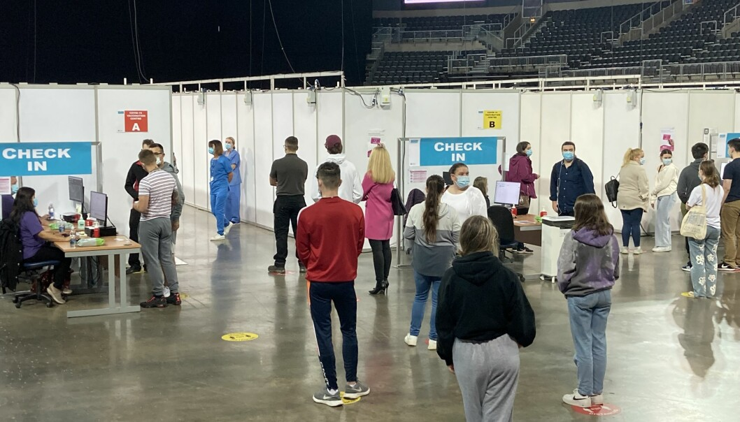 Queues for Covid-19 vaccines at the vaccine centre in the SSE Arena in Belfast.