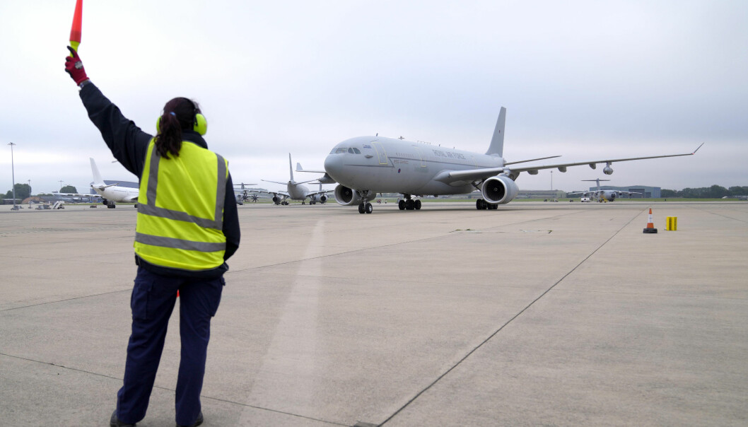 A RAF Voyager aircraft carrying members of the British armed forces 16 Air Assault Brigade arrives at RAF Brize Norton, Oxfordshire, as they return from helping in operations to evacuate people from Kabul airport in Afghanistan. Picture date: Saturday August 28, 2021.