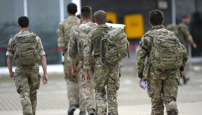 A member of the British armed forces 16 Air Assault Brigade walk to the air terminal after disembarking a RAF Voyager aircraft at RAF Brize Norton, Oxfordshire, following their return from helping in operations to evacuate people from Kabul airport in Afghanistan. Picture date: Saturday August 28, 2021.