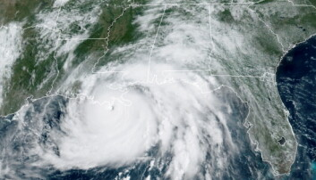 A satellite image shows Hurricane Ida in the Gulf of Mexico and approaching the coast of Louisiana, U.S.