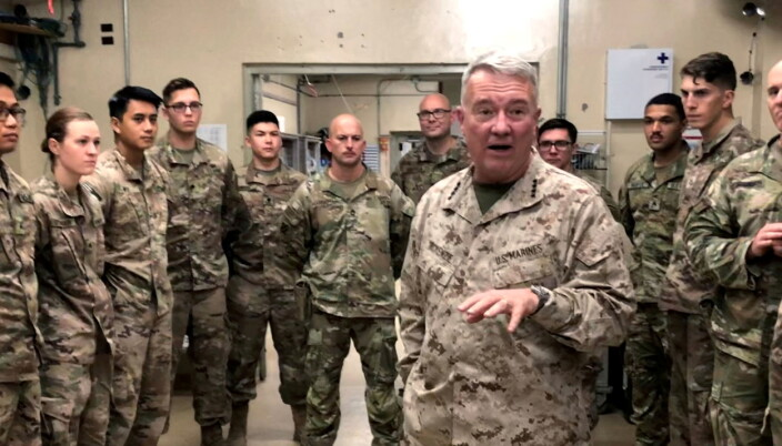 General McKenzie, head of U.S. Central Command, speaks with U.S. troops while visiting Forward Operating Base Fenty in Jalalabad.