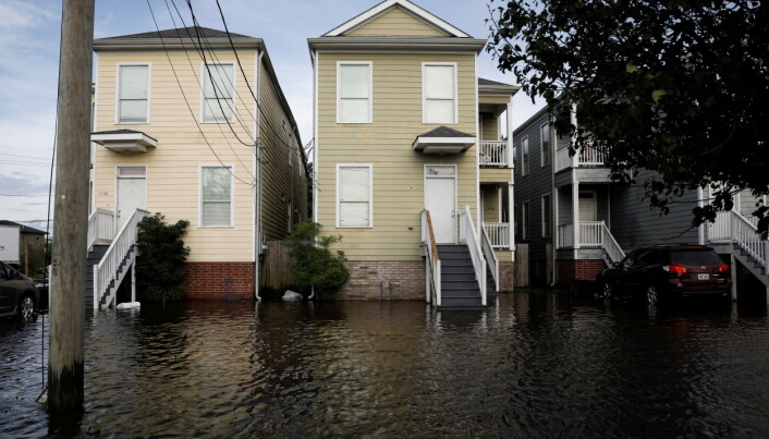 Flooded homes front yards are seen after Hurricane Ida made landfall in Louisiana, in New Orleans, Louisiana.