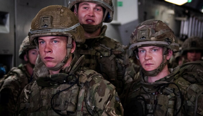 Members of British Forces from 16 Air Assault Brigade look on upon arrival in Kabul Afghanistan, to provide support to British nationals leaving the country, as part of Operation Pitting.